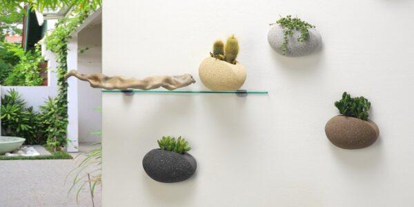 Kamena zidna saksija sa magnetom Mini AFRODITA - Tamno siva - 00516